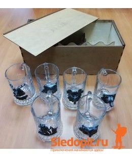 Подарочный набор бокалов с головами животных в сувенирной коробке