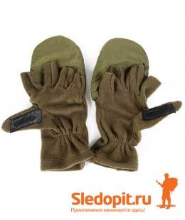 Варежки-перчатки флисовые олива