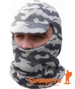 Лыжная шлем-маска с козырьком белая ХСН