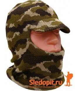 Лыжная шлем-маска с козырьком камуфлированная ХСН